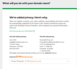 GoDaddy Private Registration