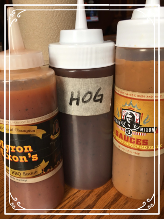 Sauces including The Hog Sauce at Myron Mixon's Pitmaster BBQ