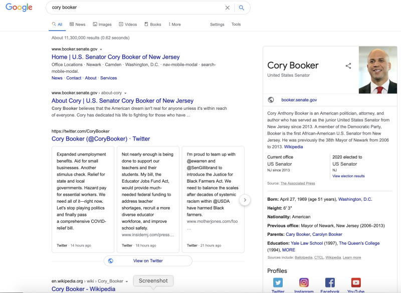 Cory booker search results